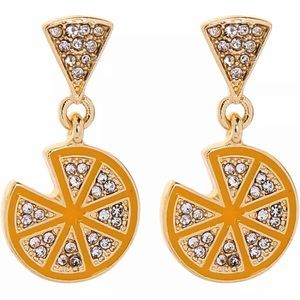 Betsey Johnson Gold Pizza Earrings